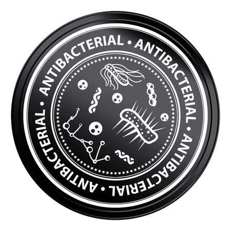 antibacterial: Black Metallic Style Antibacterial Icon, Badge, Label or Sticker for Business, Healthcare, Medical or Wellness Concept Isolated on White Background