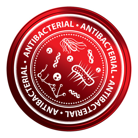 antibacterial: Red Metallic Style Antibacterial Icon, Badge, Label or Sticker for Business, Healthcare, Medical or Wellness Concept Isolated on White Background