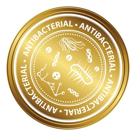 antibacterial: Gold Metallic Style Antibacterial Icon, Badge, Label or Sticker for Business, Healthcare, Medical or Wellness Concept Isolated on White Background
