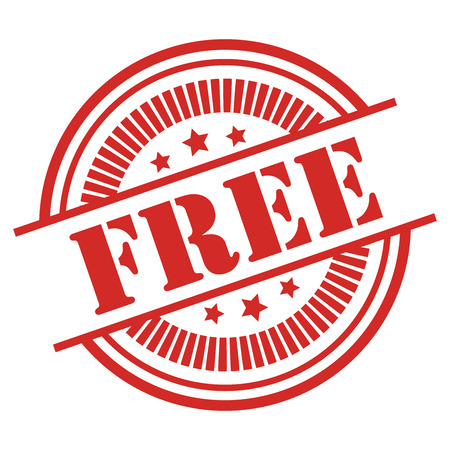 Red Free Icon,Sticker or Label Isolated on White Background Reklamní fotografie