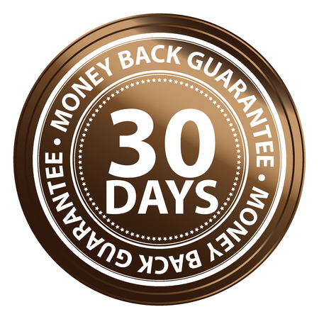 Brown Metallic Style 30 Days Money Back Guarantee Icon, Badge, Label or Sticker for Product Warranty, Quality Assurance, CRM or Customer Satisfaction Concept Isolated on White Background
