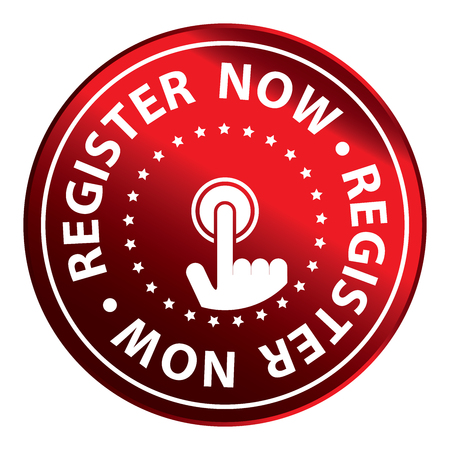 Red Circle Metallic Register Now Icon,Sticker or Label Isolated on White Background Reklamní fotografie