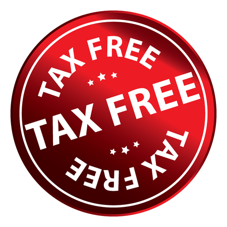 Red Circle Metallic Tax Free Icon, Button or Sticker Isolated on White Background