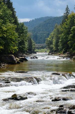 vorohta: Mountain River in Carpathians Ukraine. Village Vorohta