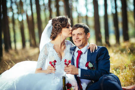 Beautiful summer Wedding walk on nature in Ukraine