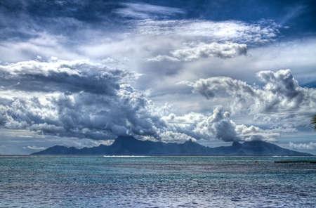Moorea in rainy season from Tahiti. photo