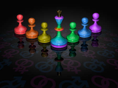 Chessmen of colour of a rainbow on a black background with an emblem the gay of movement. photo