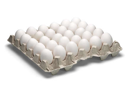 harmless: White eggs of a hen in harmless, cardboard packing on a white background