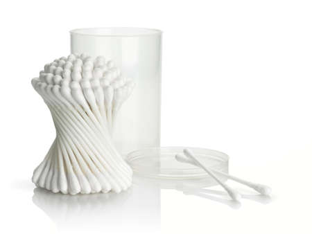 focus stacking: Bunch and separate cotton buds with plastic packing on a white background
