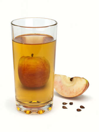 One apple, segment, seeds and juice in a glass Stock Photo