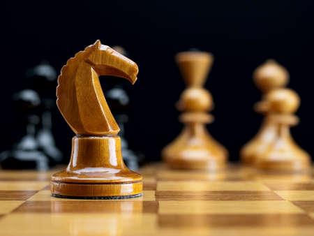 chessmen: Wooden chessmen on a chessboard
