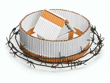 fencing wire: The cigarette house and fencing behind a barbed wire are isolated