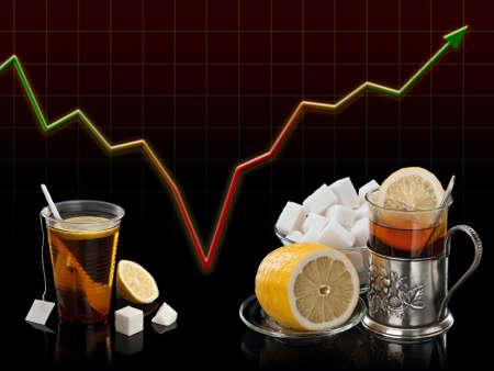 crisis economica: Pobre juego de t� contra un juego de t� abundante y rico contra el diagrama crisis econ�mica Foto de archivo