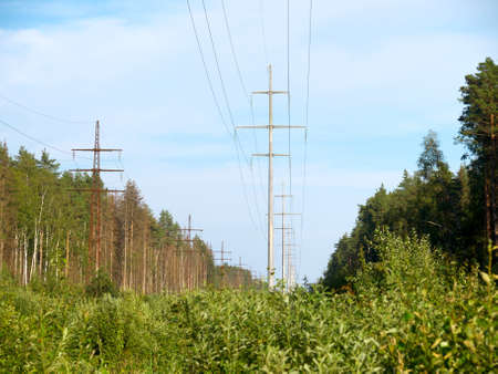 mains: Group of masts of high-voltage electric mains