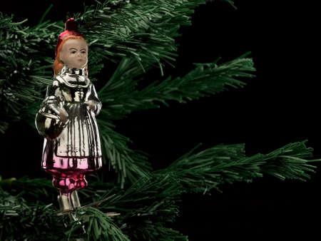 """caperucita roja: Antigua decoraci�n de �rboles de Navidad de cristal """"Caperucita Roja"""" Foto de archivo"""