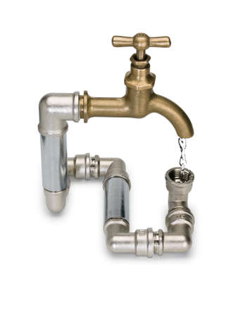 waterpipe: Water stream in the closed water system with brass faucet it is isolated on white Stock Photo