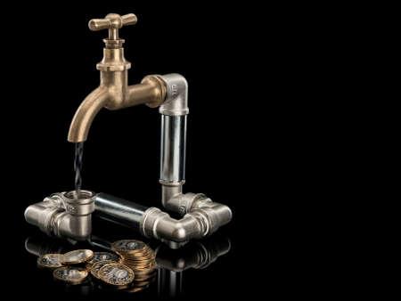 vómito: El sistema de agua de grifo de monedas de Rusia y latón se encuentra aislado en negro