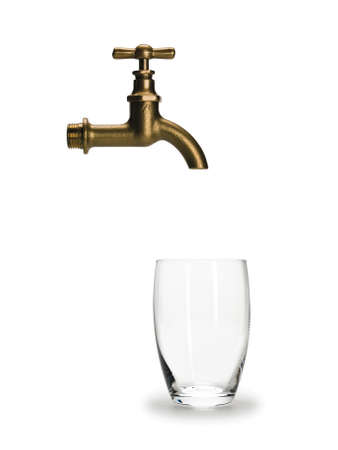 waterpipe: Empty glass for water and brass faucet it is isolated on white
