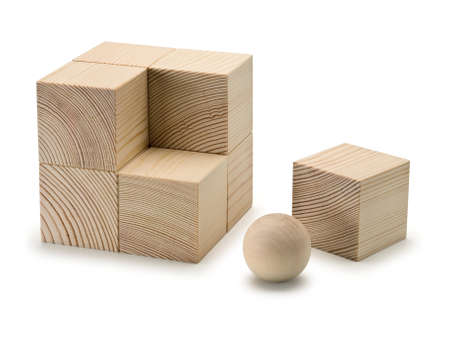 lacking: Eight wooden cubes and the sphere