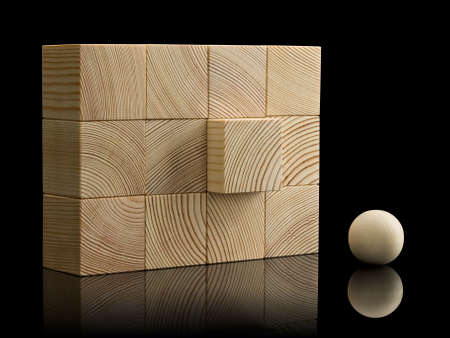 acting: The equal wall combined from twelve wooden cubes, with acting element