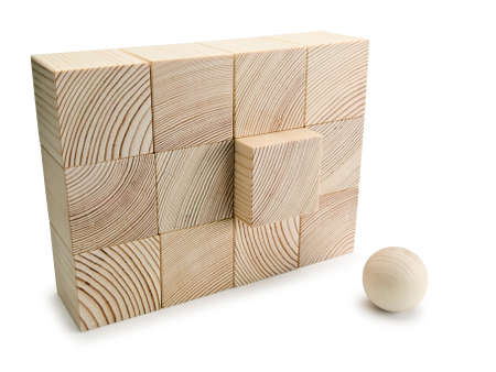 allocated: The equal wall combined from twelve wooden cubes, with acting element