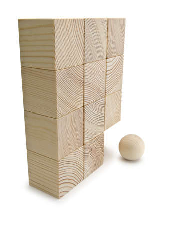 lacking: Wall combined from wooden cubes and one wooden sphere