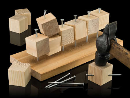 sewn up: Wooden cubes, are randomly sewn to panel by means of  hammer and nails