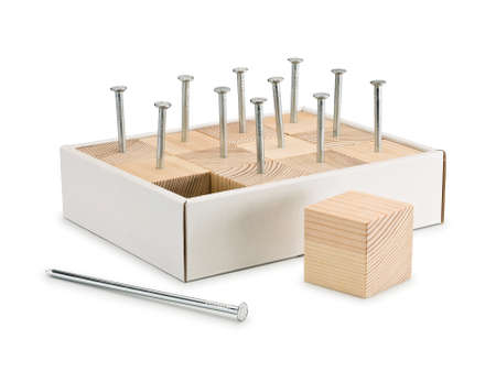 sewn up: Wooden cubes are densely sewn by nails to a cardboard box