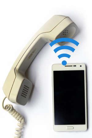 technological evolution: Wireless data transfer from mobile phone to landline handset