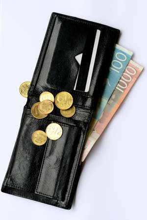 dinar: Wallet with two Serbian dinar banknotes and coins Stock Photo