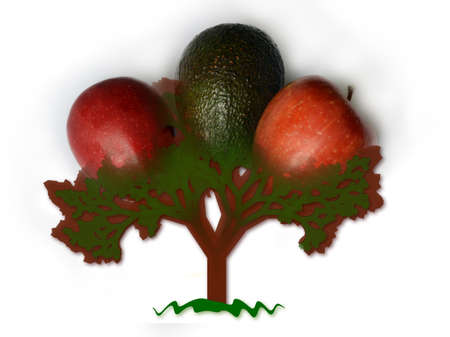 genetic modification: Abstract tree with oversized fruits, apples and avocado - conceptual GMO illustration