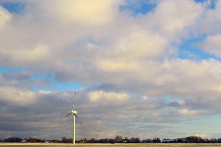wind mills: Landscape with wind mills and cloudy sky Stock Photo