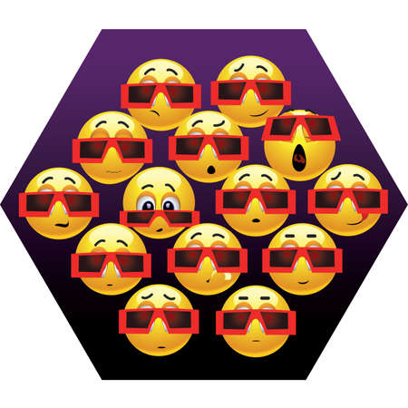 Smiling balls watching movie in cinema Vector