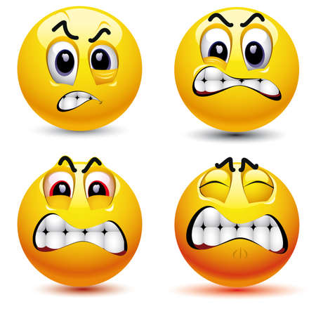 Smiling balls with different face expression of anger Vector