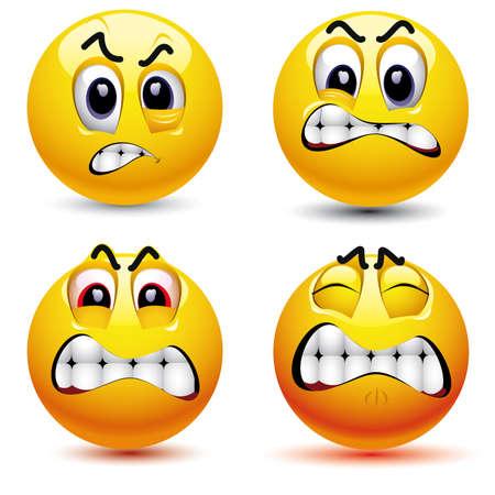 Sonriente rostro con diferentes bolas de expresión de la ira Ilustración de vector