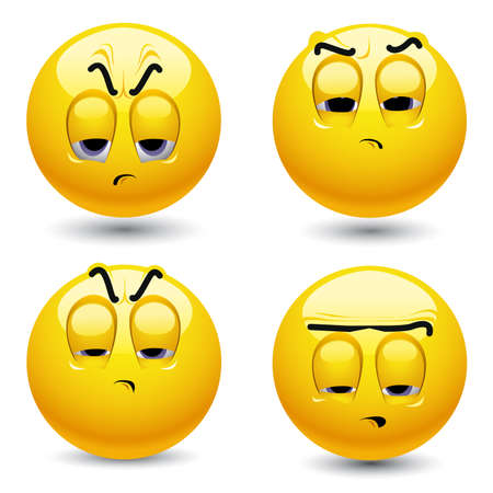 drowse: Smiling balls in pessimistic mood Illustration