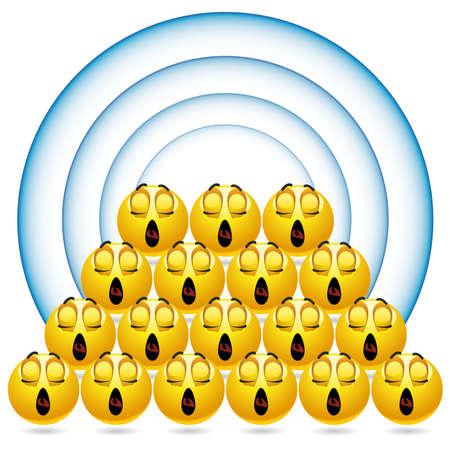 coro: bolas sonrientes cantando en el coro