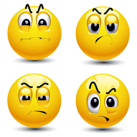 Smiling balls with different face expression of envy Vector