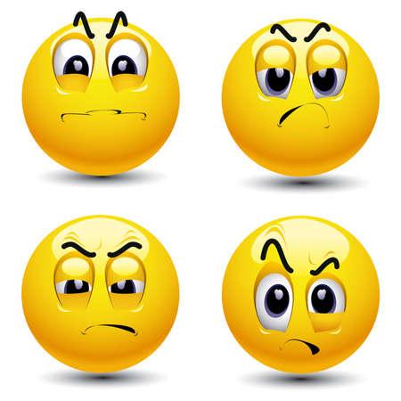 visage peint: Sourire balles avec l'expression du visage diff�rente de l'envie Illustration