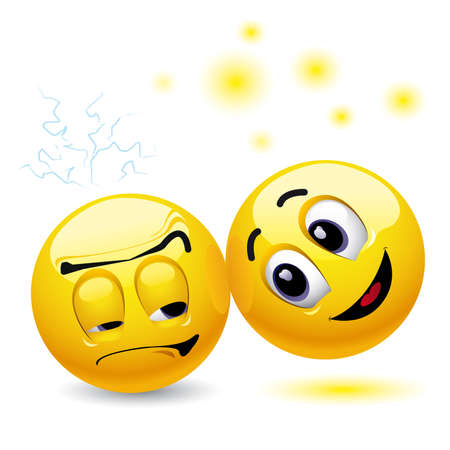 Smiling ball trying to cheer up another angry smilling ball Stock Vector - 4502305