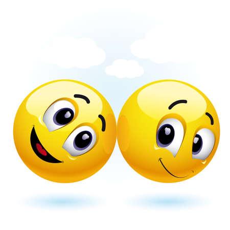 smiles: deux balles de sourire en s'amusant et en appr�ciant chaque compagnie Illustration