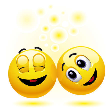 gratify: two smiling balls having fun and enjoying each others company