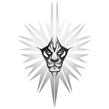 Metalic representation of lion in front of metal shield Stock Vector - 4502304