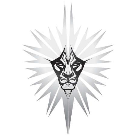 arrogancia: Representaci�n met�lico de le�n en frente del escudo de metal Vectores