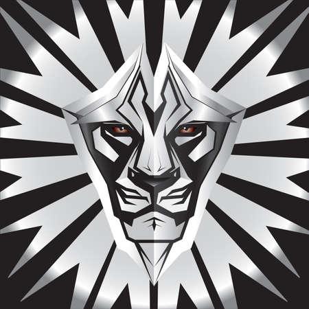 blasone: Metallici in rappresentanza del leone scudo anteriore di metallo Vettoriali