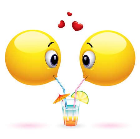 compartiendo: Par de pelotas sonriente intercambio de alimentos y bebidas Vectores