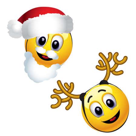 sticking: Smiling balls dressed as Santa Claus and reindeer