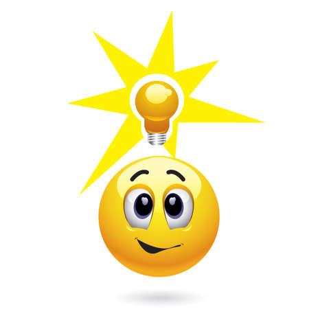 ideas brillantes: Sonriendo bola obtener gran idea Vectores