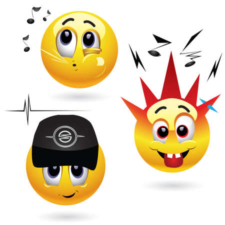 Smiling balls listening ti different kind of music Vector