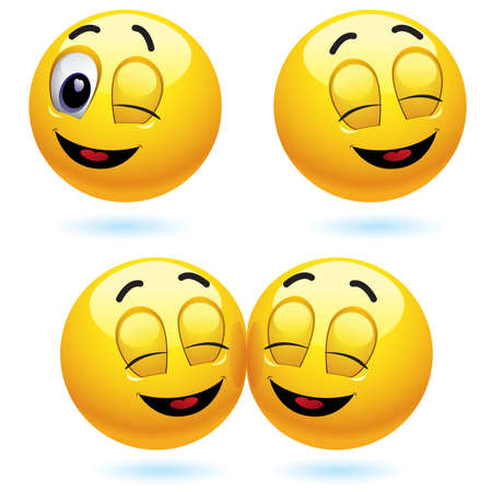 Smiling ball winking and blinking Vector